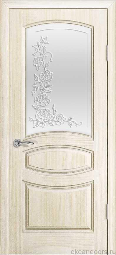Двери Океан Изабелла (Ясень белый жемчуг), стекло белое