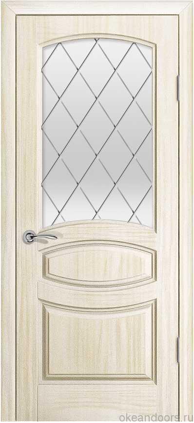 Двери Океан Изабелла (Ясень белый жемчуг), стекло белое ромб