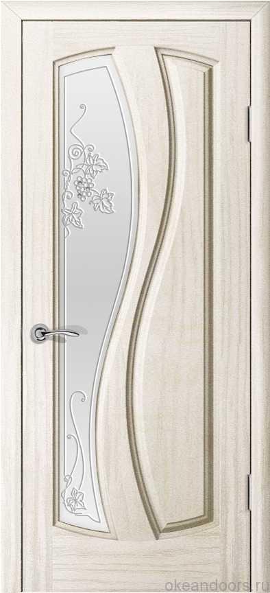 Двери Океан Шарм (Ясень белый жемчуг), стекло белое