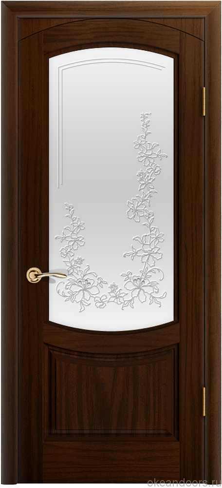 Двери Океан Лувр (ясень винтаж), стекло белое