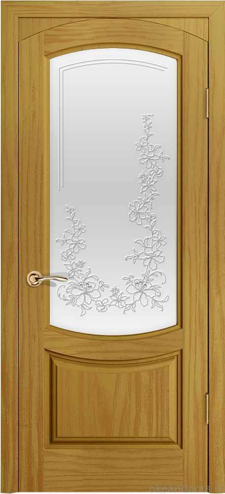 Двери Океан Лувр (ясень шервуд), стекло белое