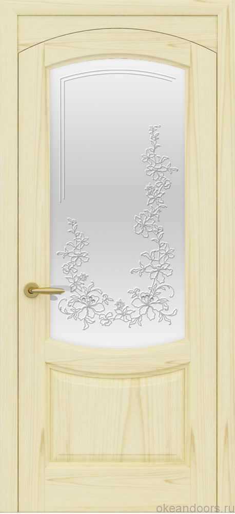 Двери Океан Лувр (ясень слоновая кость), стекло белое