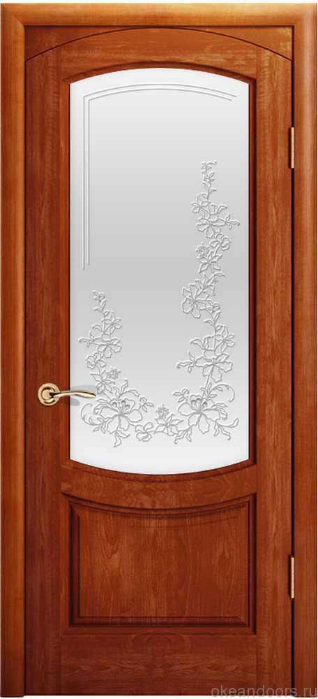 Двери Океан Лувр (красное дерево), стекло белое