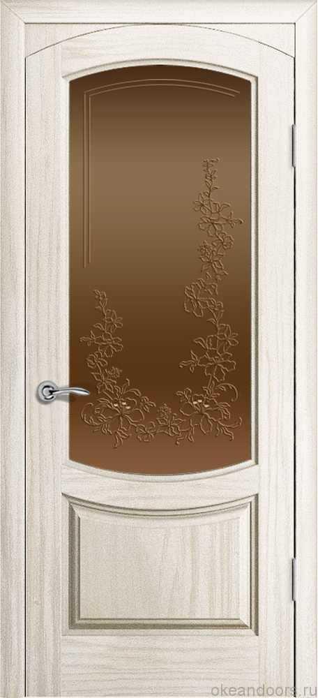 Двери Океан Лувр (ясень белый жемчуг), стекло бронзовое