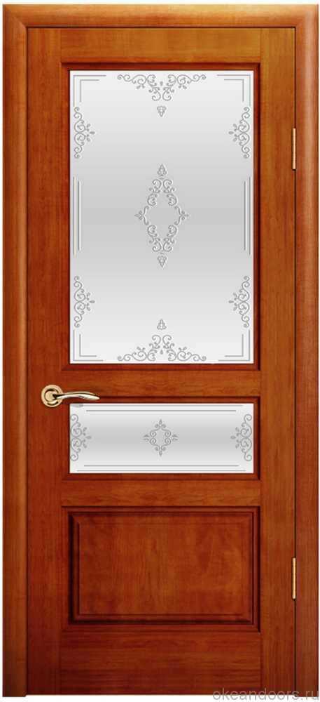 Двери Океан Марсель (красное дерево), стекло белое