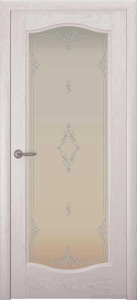 Двери Океан Аврора (дуб белый жемчуг), стекло белое