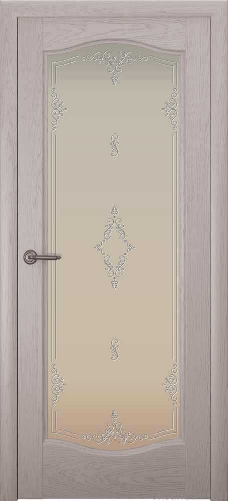 Двери Океан Аврора (дуб серый), стекло белое