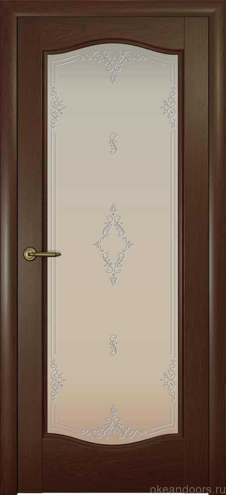 Двери Океан Аврора (дуб шоколад), стекло белое