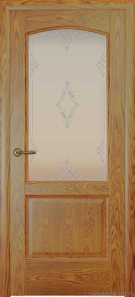 Двери Океан Женева (дуб золотой), стекло белое