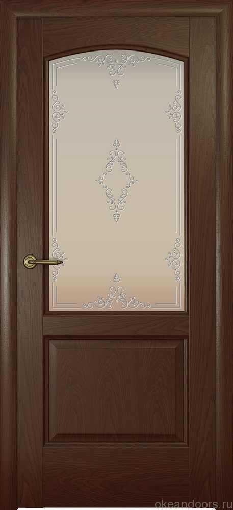 Двери Океан Женева (дуб шоколад), стекло белое