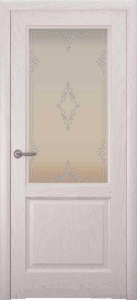 Двери Океан Парма (дуб белый жемчуг), стекло белое