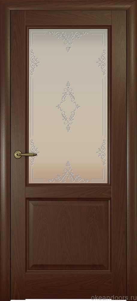 Двери Океан Парма (дуб шоколад), стекло белое