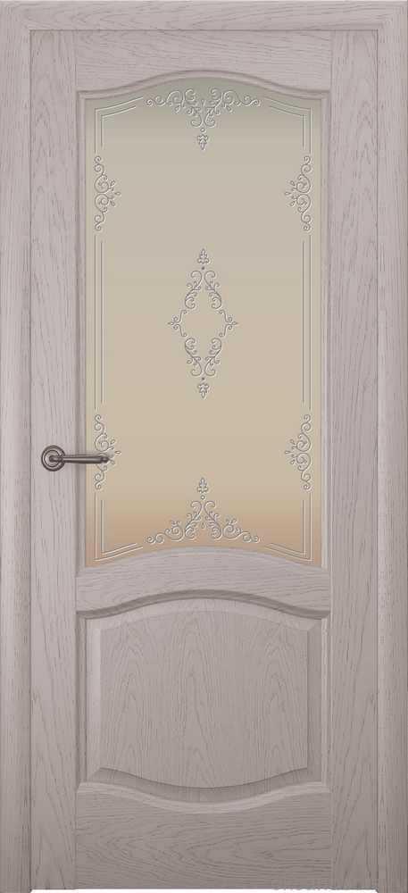 Двери Океан София (дуб серый), стекло белое