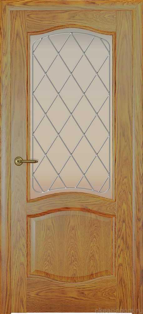 Двери Океан София (дуб золотой), стекло белое ромб