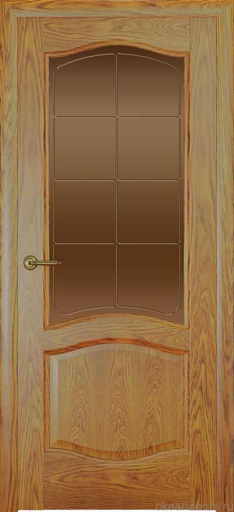 Двери Океан София (дуб золотой), стекло бронзовое решетка