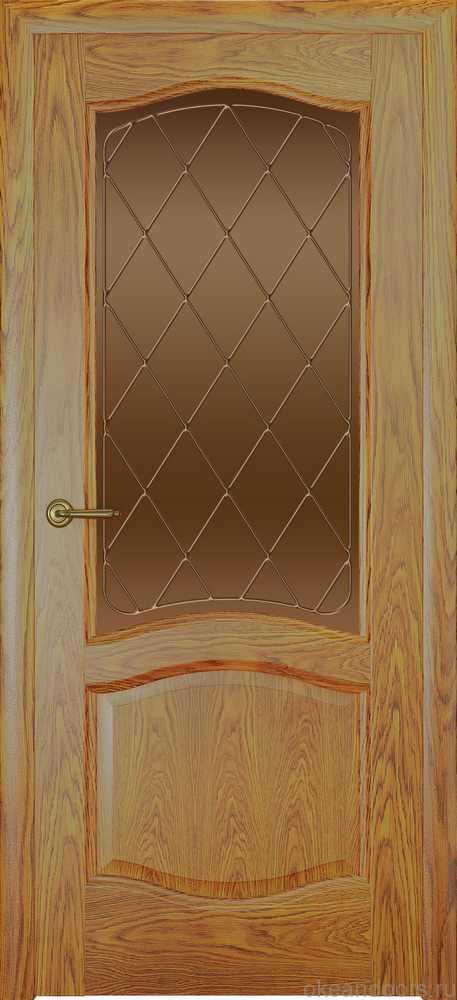 Двери Океан София (дуб золотой), стекло бронзовое ромб