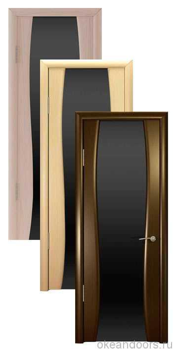 Коллекция дверей Океан Буревестник-2 (10 цветов) с черным широким стеклом