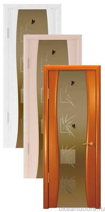 """Коллекция дверей Океан Буревестник-2 """"Бабочки"""" (10 цветов) с бронзовым широким стеклом"""