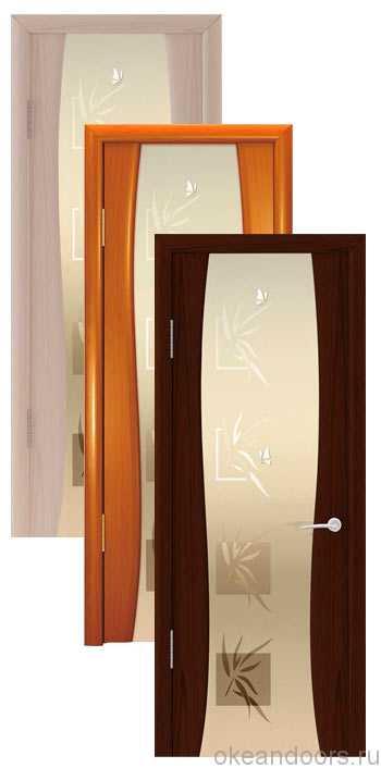 """Коллекция дверей Океан Буревестник-2 """"Бабочки"""" (10 цветов) с белым широким стеклом"""