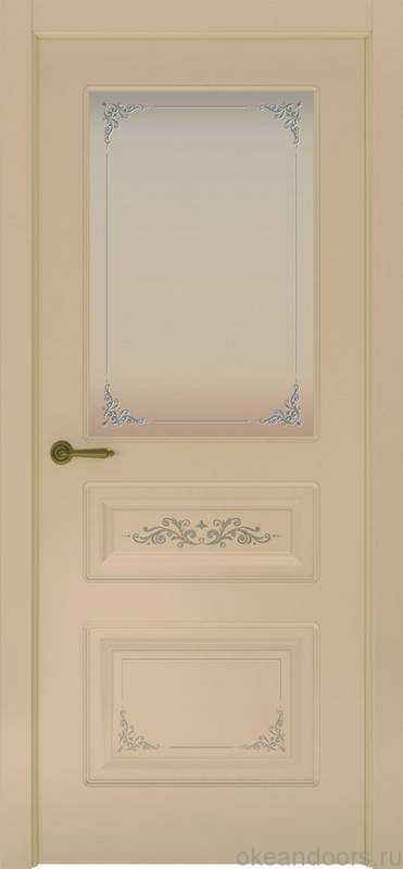 Дверь Океан Provence 3 Flora (слоновая кость, белое стекло)