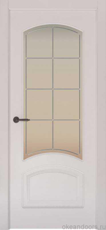 Дверь Provence 4 (белая эмаль, стекло белое Решетка)