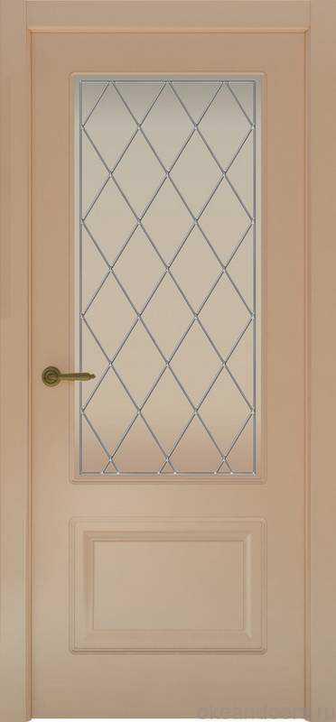 Дверь Provence 2 (капучино, стекло белое Ромб)