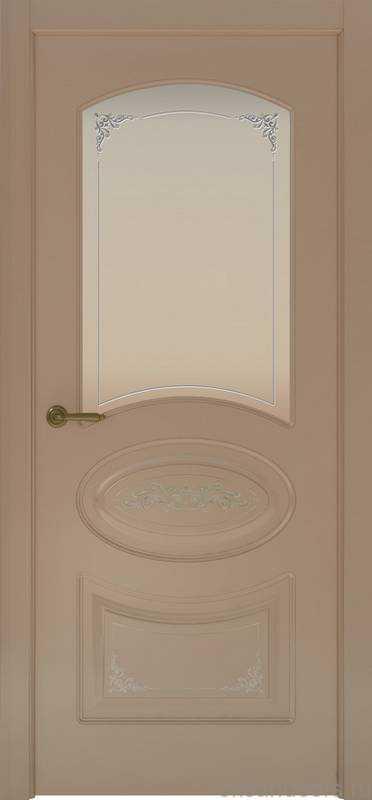Дверь Provence 1 Flora (мокко, стекло белое)