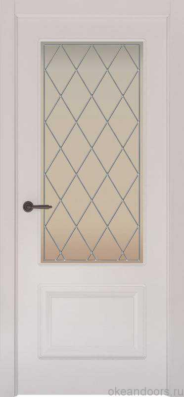 Дверь Provence 2 (белая эмаль, стекло белое Ромб)