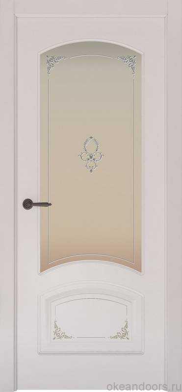 Дверь Provence 4 Flora (белая эмаль, стекло белое)