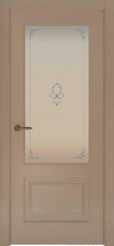 Дверь Океан Provence 2 Flora (мокко, белое стекло)