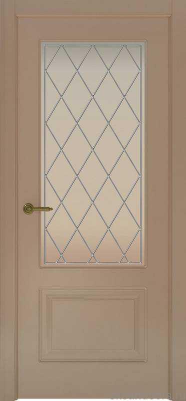 Дверь Provence 2 (мокко, стекло белое Ромб)