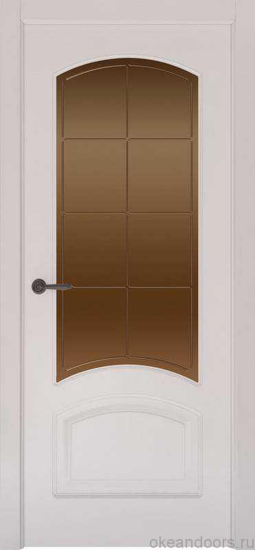 Дверь Provence 4 (белая эмаль, стекло бронзовое Решетка)