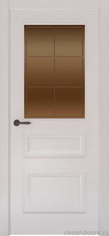 Дверь Provence 3 (белая эмаль, стекло бронзовое Решетка)