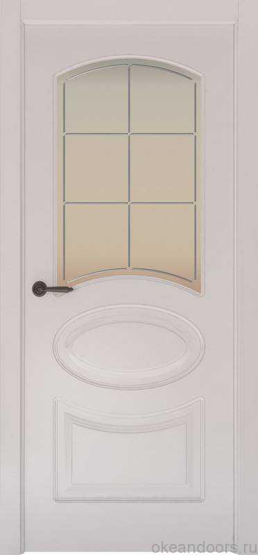 Дверь Provence 1 (белая эмаль, стекло белое Решетка)