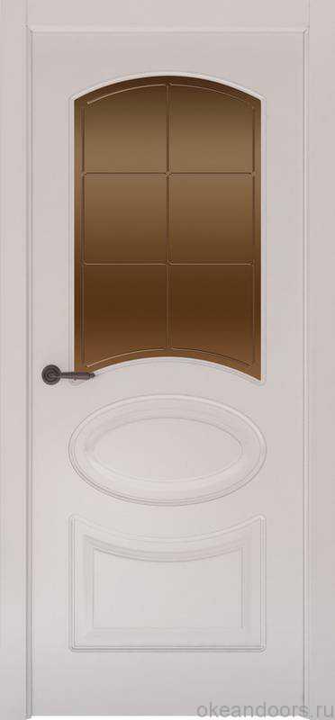 Дверь Provence 1 (белая эмаль, стекло бронзовое Решетка)