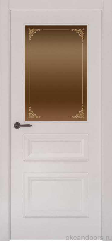 Дверь Provence 3 (белая эмаль, стекло бронзовое Виола)