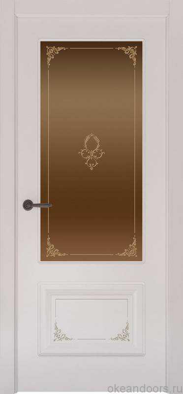 Дверь Океан Provence 2 Flora (белая эмаль, бронзовое стекло)