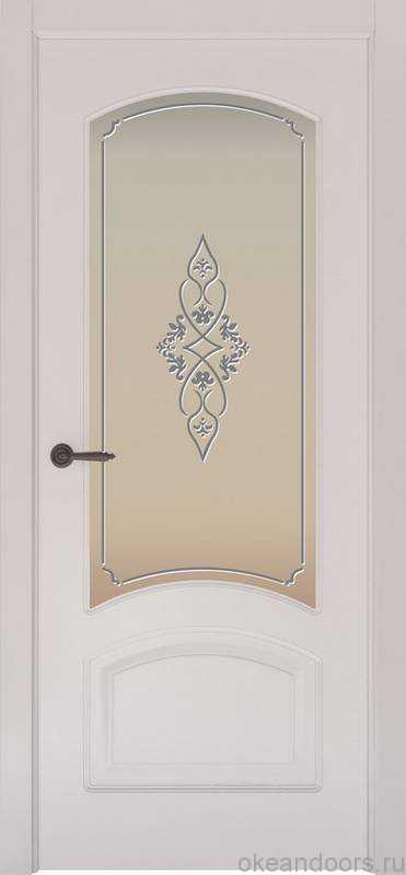 Дверь Provence 4 (белая эмаль, стекло белое Арабеска)