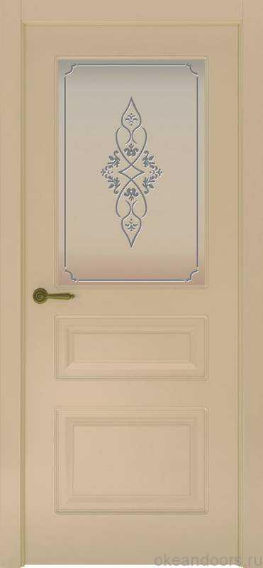 Дверь Provence 3 (слоновая кость, стекло белое Арабеска)