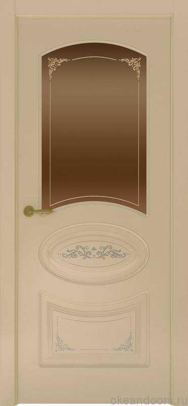Дверь Provence 1 Flora (слоновая кость, стекло бронзовое)