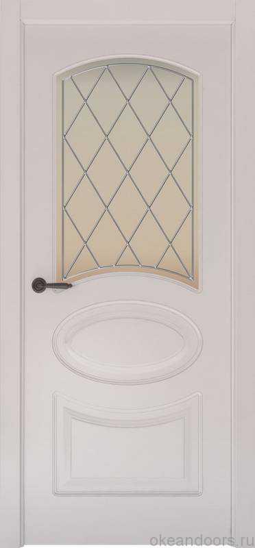 Дверь Provence 1 (белая эмаль, стекло белое Ромб)
