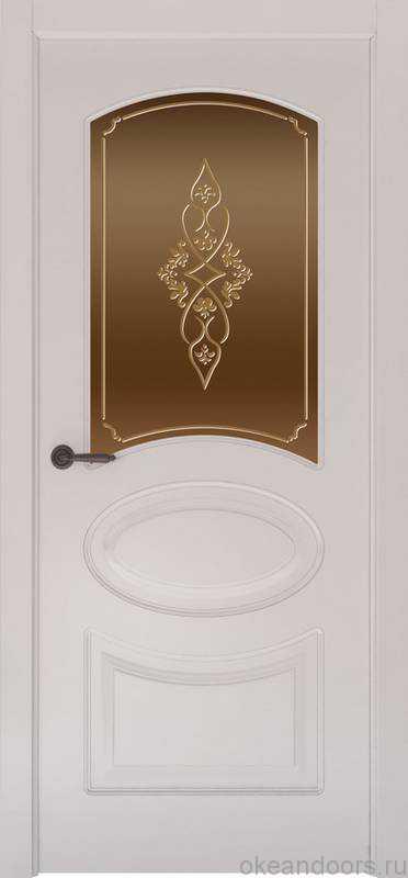 Дверь Provence 1 (белая эмаль, стекло бронзовое Арабеска)