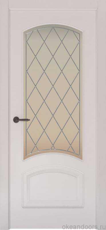 Дверь Provence 4 (белая эмаль, стекло белое Ромб)
