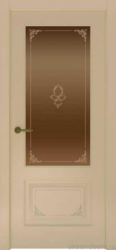 Дверь Океан Provence 2 Flora (слоновая кость, бронзовое стекло)