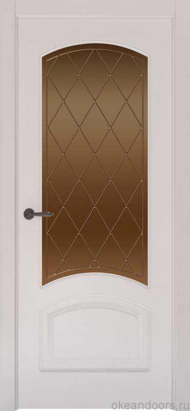 Дверь Provence 4 (белая эмаль, стекло бронзовое Ромб)