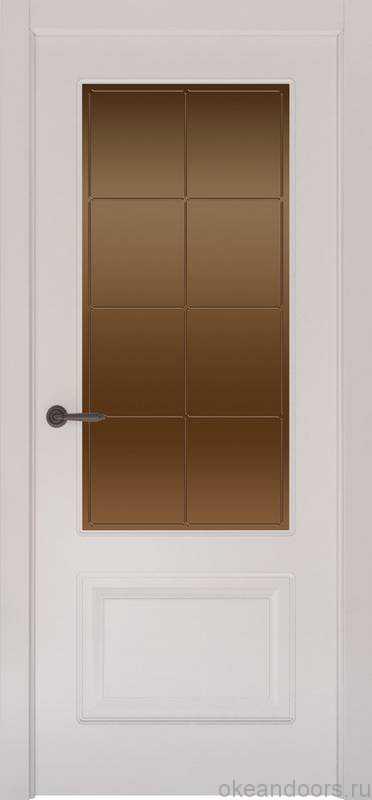 Дверь Provence 2 (белая эмаль, стекло бронзовое Решетка)