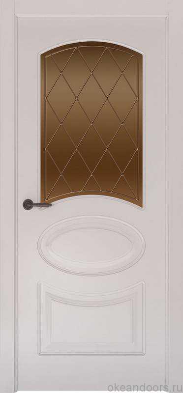 Дверь Provence 1 (белая эмаль, стекло бронзовое Ромб)
