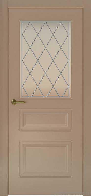 Дверь Provence 3 (мокко, стекло белое Ромб)