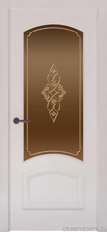 Дверь Provence 4 (белая эмаль, стекло бронзовое Арабеска)