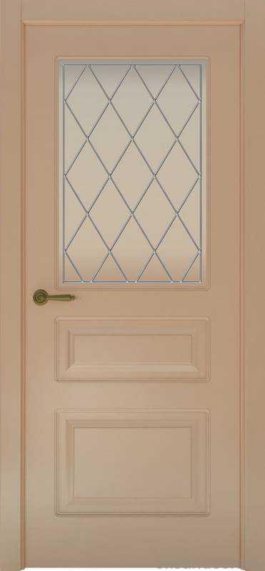 Дверь Provence 3 (капучино, стекло белое Ромб)